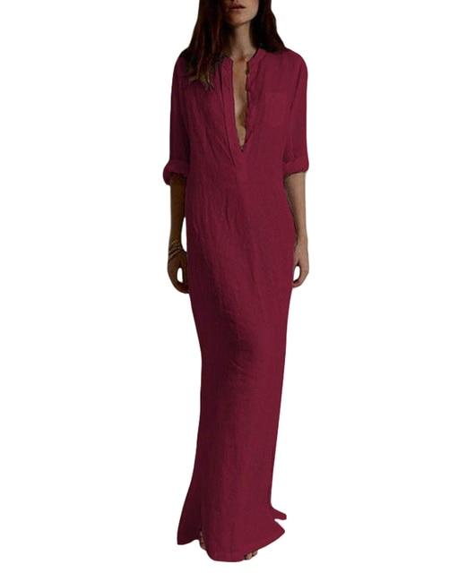 4XL 5XL Long Plus Size Dress Women Retro Maxi Shirt Dress Elegant Ladies Long  Sleeve Stand 41bb89988346