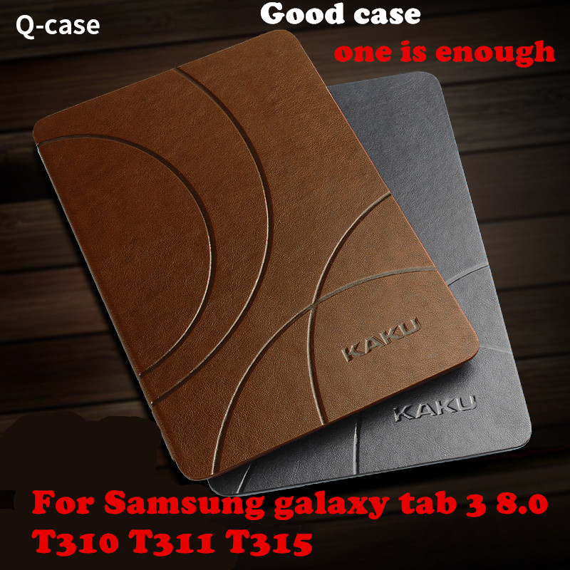 Kaku Magnet PU Leather Case Smart Cover For Samsung galaxy tab3 tab 3 8.0 T310 T311 T315 Tablet case Protective shell protective pu leather case w card slot for samsung galaxy note 3 n9000 deep blue