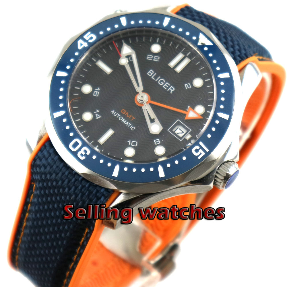 41mm bliger navy black dial GMT date ceramic bezel sapphire glass deploymenat clasp automatic mens watch