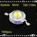 1000 pcs Frete grátis 1 W de Alta Potência contas Lâmpada LED Epileds 40mil 100-110lm branco/Branco Quente para 1 W 2 w 3 W 5 W 10 W LED Spot luz