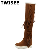 TWISEE Boots Sexy Over The Knee High Suede Women Snow Wedges Boots Women S Fashion Winter