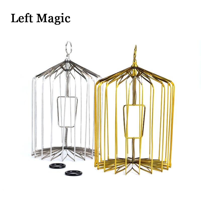 Cage à oiseaux en acier doré et argenté-petite taille (Cage d'apparition de colombe)