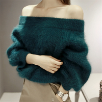Knitted High Quality Mink Cashmere Sweater Women Sweater Cachemira Woman Spring Winter Off Shoulder Slash Neck