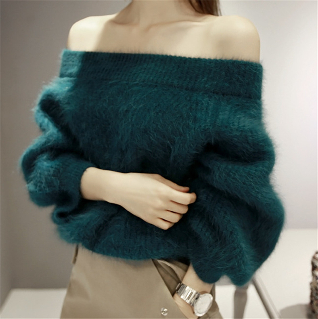 Knitted High Quality Mink Cashmere Sweater Women Sweater Cachemira Woman Spring Winter Off Shoulder Slash Neck Sweaters Pullover
