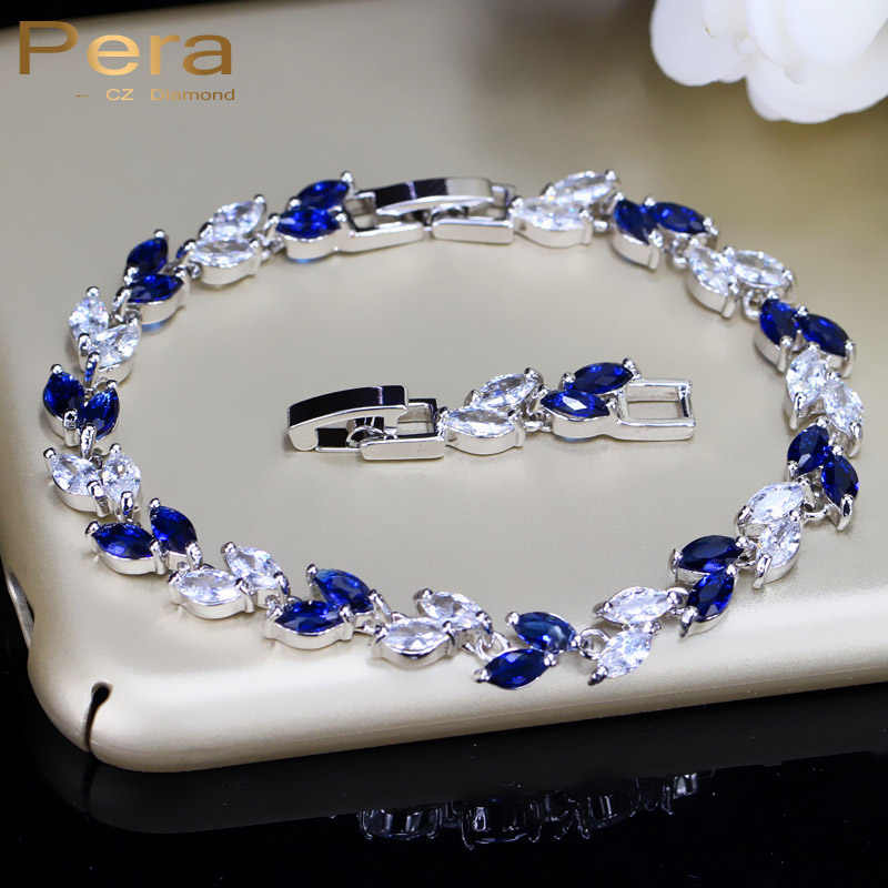 Pera Fashion Royal Jewelry White Gold Color Big Leaf Shape Dark Blue Cubic Zirconia Stone Chain & Link Bracelet For Women B005