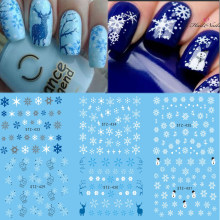 1 Sheet Water Nail Sticker Christmas Design Temporary Tattoos Elk/Snow Flowers/Owl Pattern Transfer Beauty Nail Art TRSTZ429-439(China)