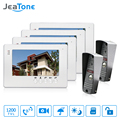 JeaTone NEW 7 inch LCD TFT Color Video Door Phone Intercom System 1200TVL Outdoor Pinhole camera IR Night Vision Unlocking Door
