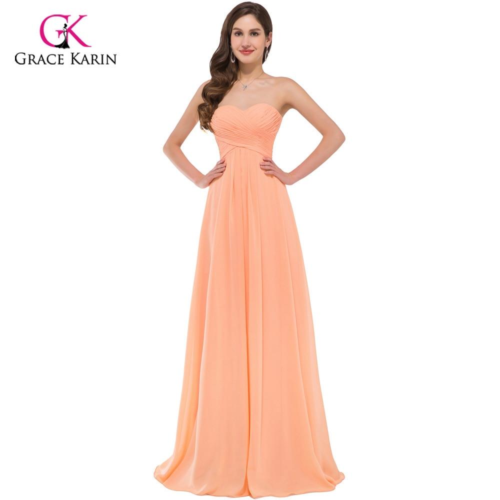 Grace Karin Orange Chiffon Sexy Cheap Long Bridesmaid Dresses 2018