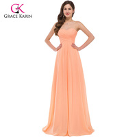Grace Karin Orange Chiffon Sexy Cheap Long Bridesmaid Dresses 2016 Ruched Elegant Prom Dresses Under 50