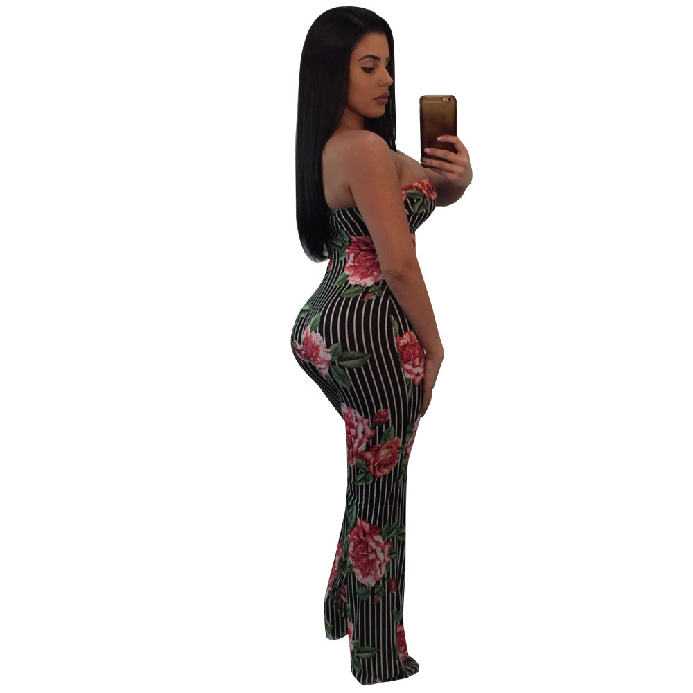 2bbca3b3cce0 Floral Printed Wide Leg Jumpsuit Rompers Women Off the Shoulder Dressy  Loose Long Pants Strapless Jumpsuits for Ladies Overalls-in Jumpsuits from  Women's ...