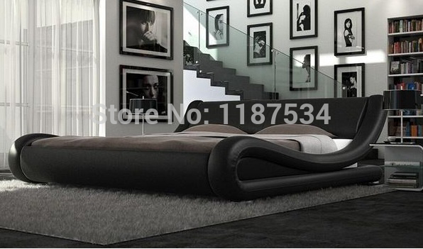 comfortable bed PU+PVC modern soft bed leather soft bed large size bed-C328 bed