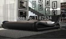 Удобная кровать pu + ПВХ современная мягкая кровать кожа мягкая кровать Большие размеры bed-c328