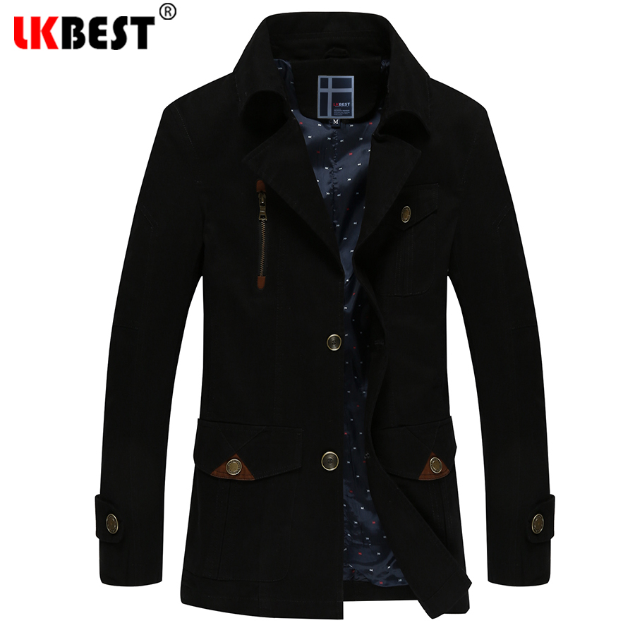 LKBEST hiver Trench Coat hommes Slim Fit hommes Trench veste coton Long hommes coupe-vent coton grande taille Outwear FY17