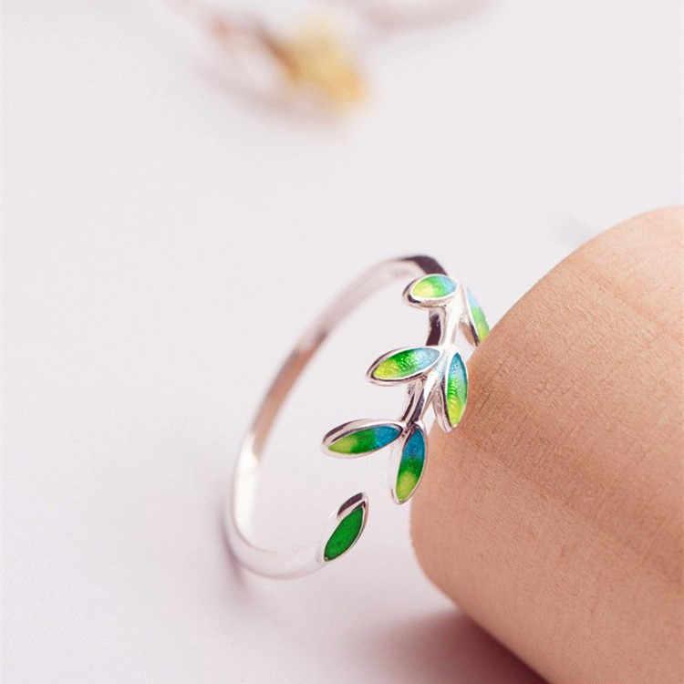 ใหม่แฟชั่นผู้หญิงสไตล์เรียบง่ายแหวนเงิน 925 เปิดแหวนปรับ Promise Love Leaf หมั้นแหวน