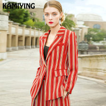 KAMIYING 2019 Spring New Euro-American Leisure Suit Catwalk Fashion Retro Leisure Stripe Suit Women's Temperament Two-piece Suit(China)