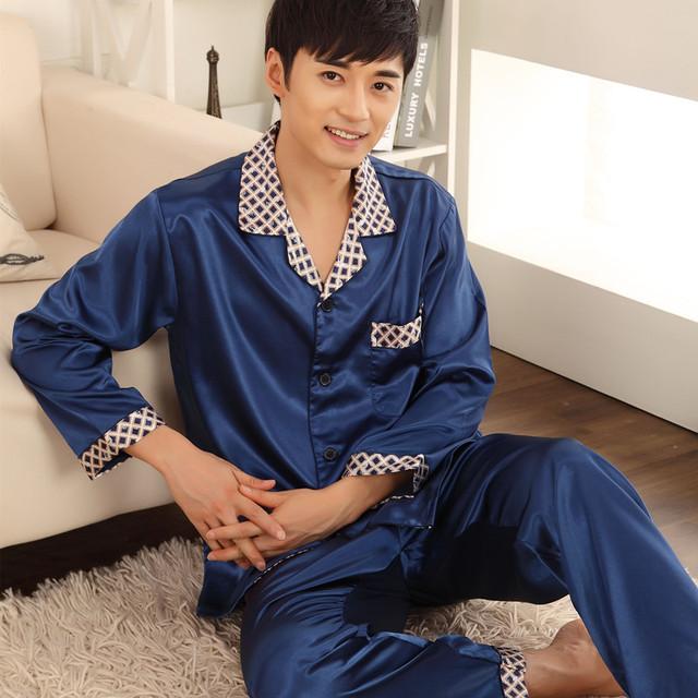 Masculina a cuadros twinset primavera verano otoño de manga larga pijama de seda establece cuatro estaciones párrafo masculina dormir camisón