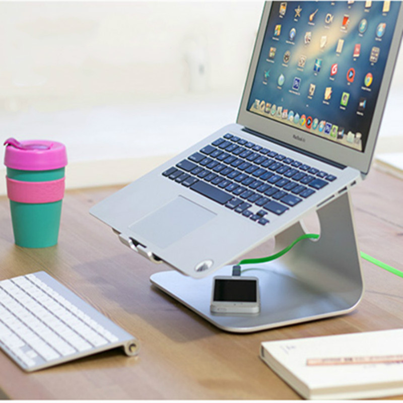 MacBook and PC Laptop Support Ergonomics Stand Silver Aluminum Alloy Cooling Carrier Foothold Steady for Size 12-17 Screen aluminum alloy base stand for monitor and laptop with 4 usb ports