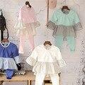 2017 primavera chicas de moda de algodón Al Por Mayor altavoz de manga costura vestido de rayas Vestidos de Las Muchachas