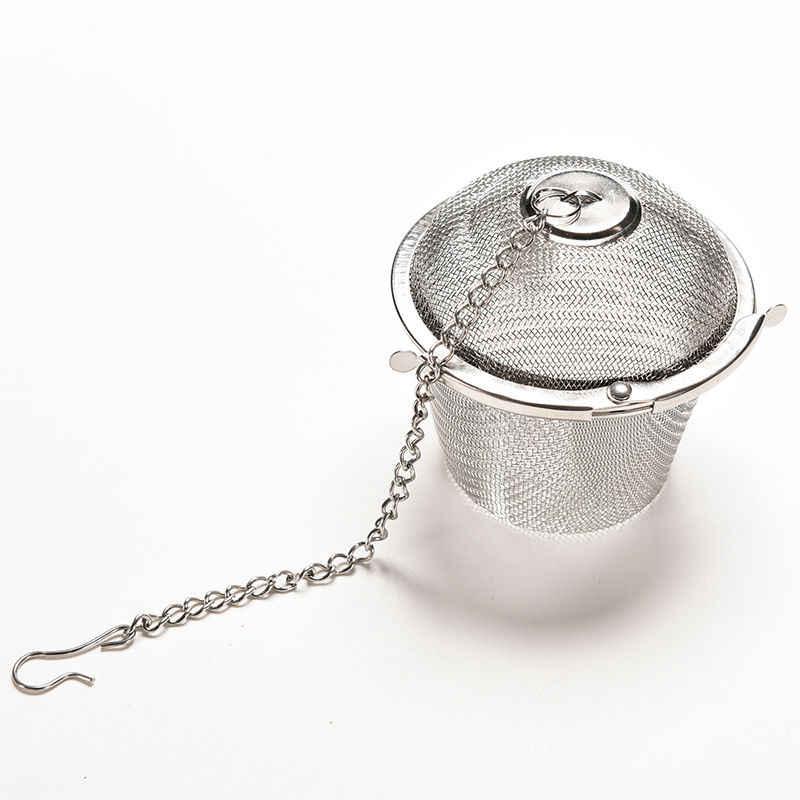 Malla para hierbas con forma de pelota té y especias reutilizable plata duradera caliente filtro infusor para té con cierre especias