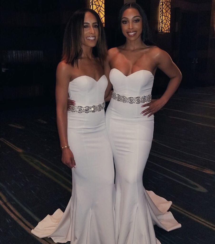 Robe demoiselle d'honneur Sweetheart Mermaid White Bridesmaid Dresses Beaded Prom DressesFloor Length Wedding Party Gown