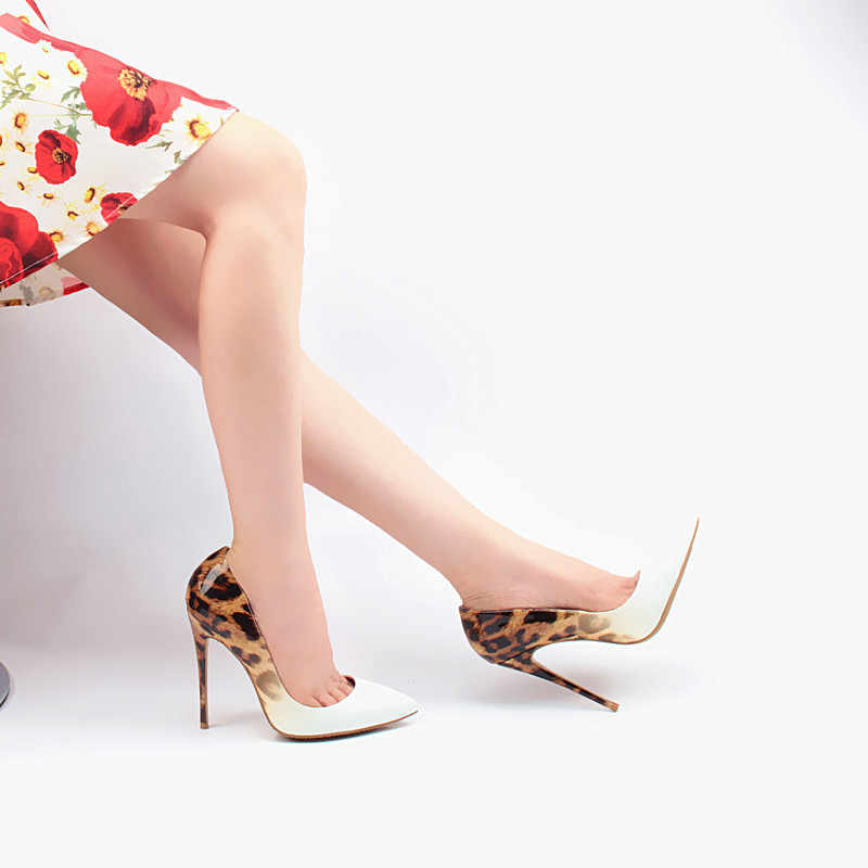 cd708de1e499 Sexy Leopard Stiletto Scarpin Party Wedding Dress Shoes Patent Leather  Women High Heels 10cm 12cm Woman