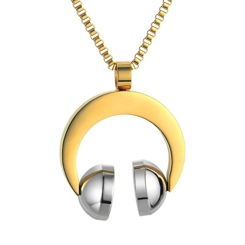Hip Hop Jewelry Stainless Steel Music Headphone Pendant (2)