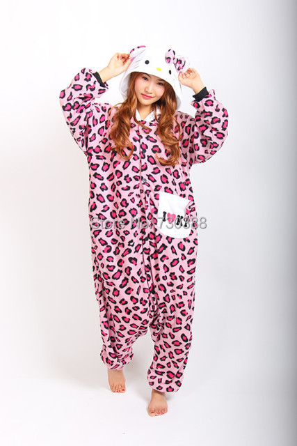 6ca215fa1 Adult Animal Anime Pink Leopard kt Kitty Cat Hello Kitty Onesie All In One  Cosplay Pajamas