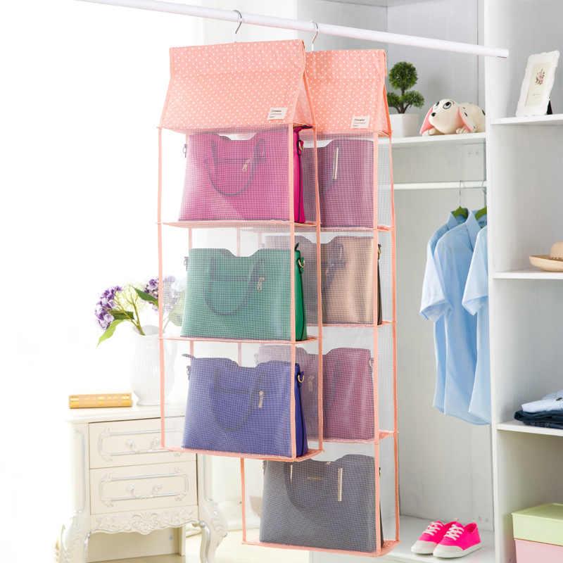 Luluhut 3 para 4 bolsos tamanho grande saco pendurado organizador do armário de armazenamento tote saco de armazenamento organizador bolsa titular para a moda mulher