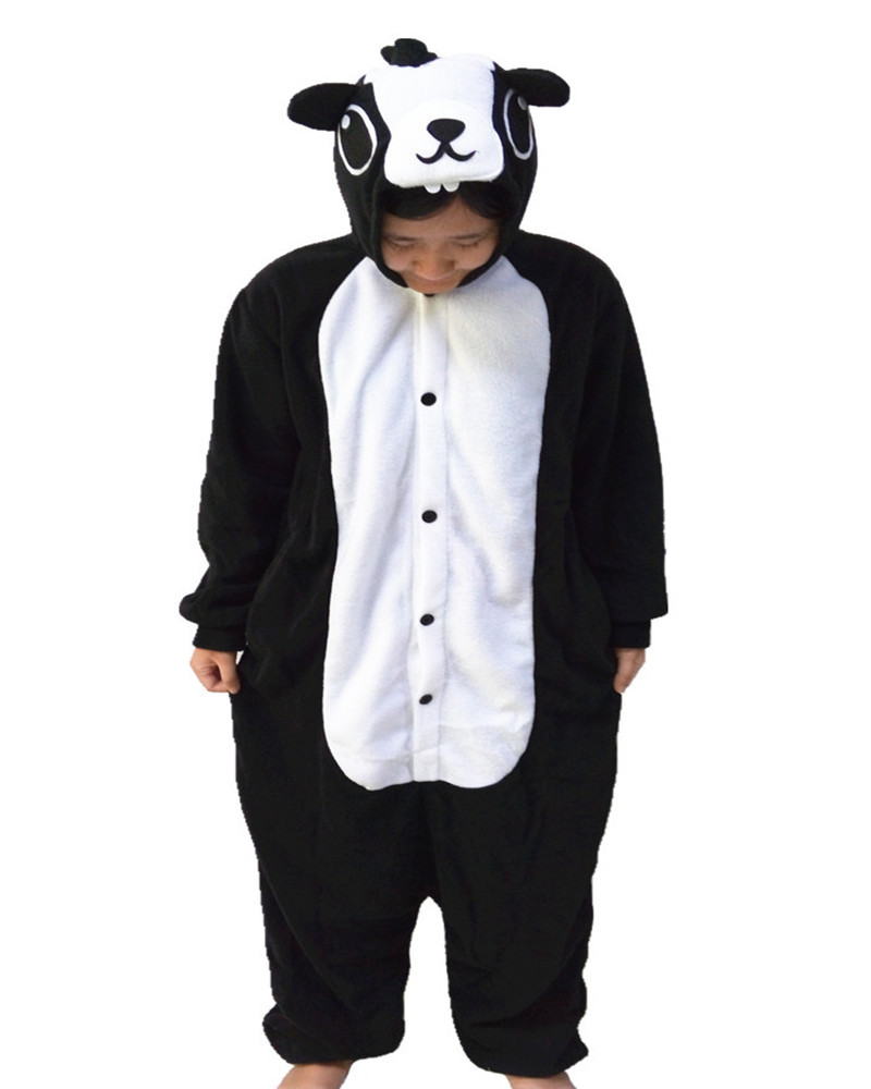 Hot Sales Black Skunk Cute Onesie Cosplay Costumes Novel Party Animal Pajamas Whole Nightgowns Women Sleepwear Long Sleeve Size