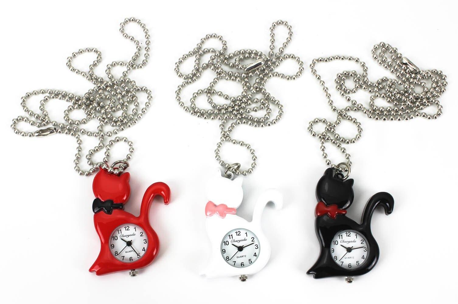 Nieuwe mode vrouwen kat ketting horloges steampunk hanger zak charme - Zakhorloge - Foto 4