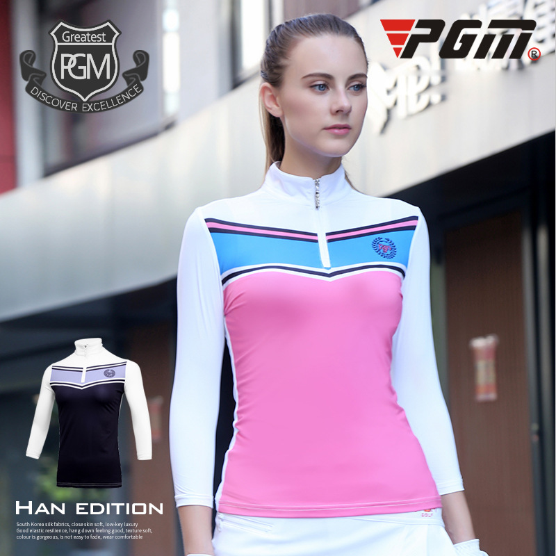 PGM Womens Golf Shirts Anti-UV Outdoor Sportswear Three-Quarter Polo Shirt Breathable Female Golf T-shirts Sun Protection Tops ...