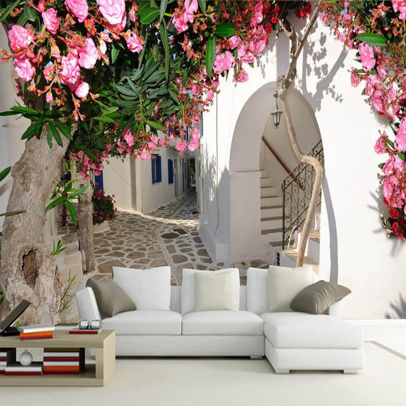 Mediterranean Style Street Town City Landscape Wall Mural Wallpaper Spatial Extension