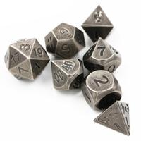 7pcs/sets Creative RPG Dice D&D Metal Dice DND Ancient Nickel D4 D6 D8 D10 D12 D20 Polyhedral dice