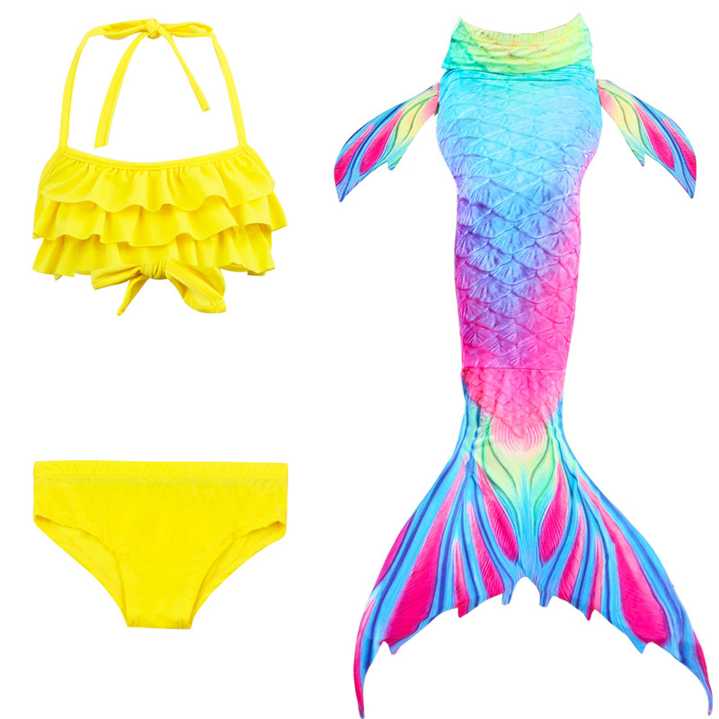 Little Mermaid Tails For Swimming Girls Swimsuit Kids Children Swimmable Suit Bikini Bathing Fancy Wear No Monofin