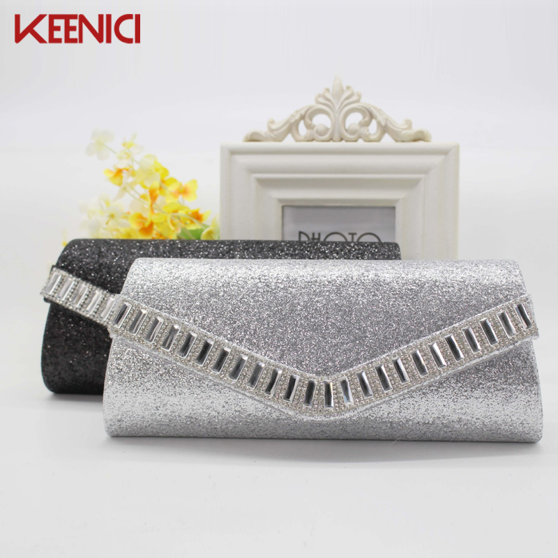 Shining Women Evening Clutch Bag Rhinestone Luxury Ladies Day Clutch Purse Chain Bridal Wedding Party Handbag Bolsa Mujer Silver