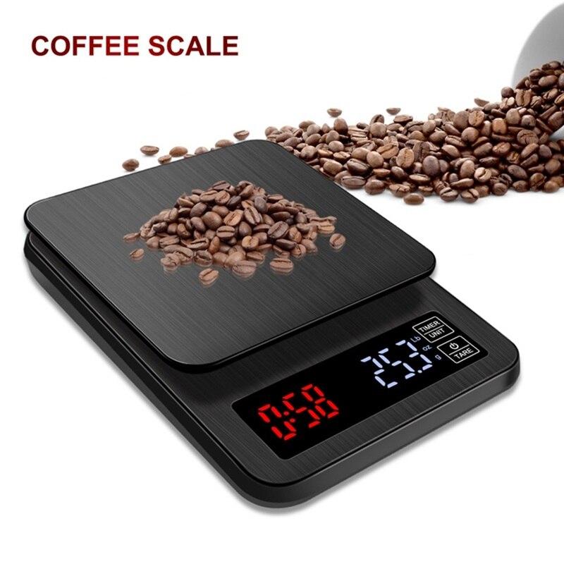 Цифровые электронные весы для кофе с ЖК-дисплеем и таймером, 3 кг, 5 кг, 0,1 г, черные кухонные весы для выпекания кофе, USB весы, таймер