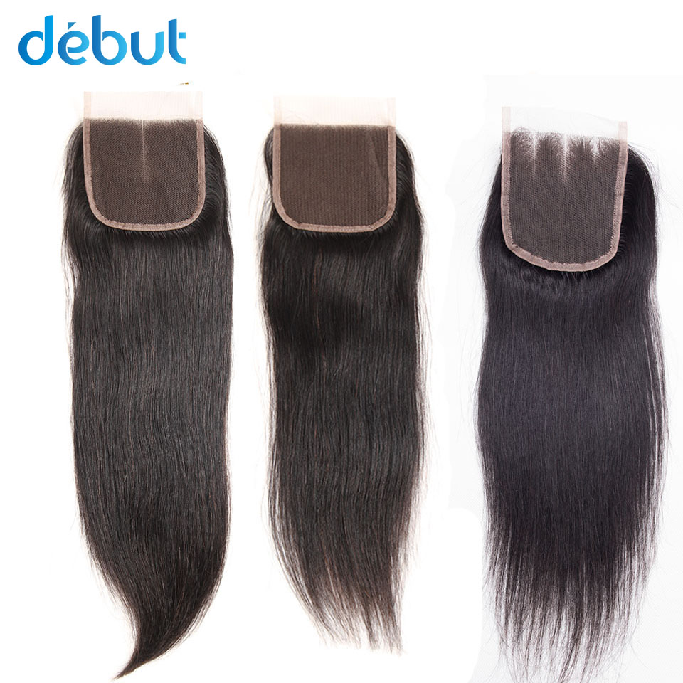 Debut Brazilian Human Hair Cheaply 4x4 Lace Closure Mink 8-20 Inch Silky Straight FREE Middles Three Parts For Black Women