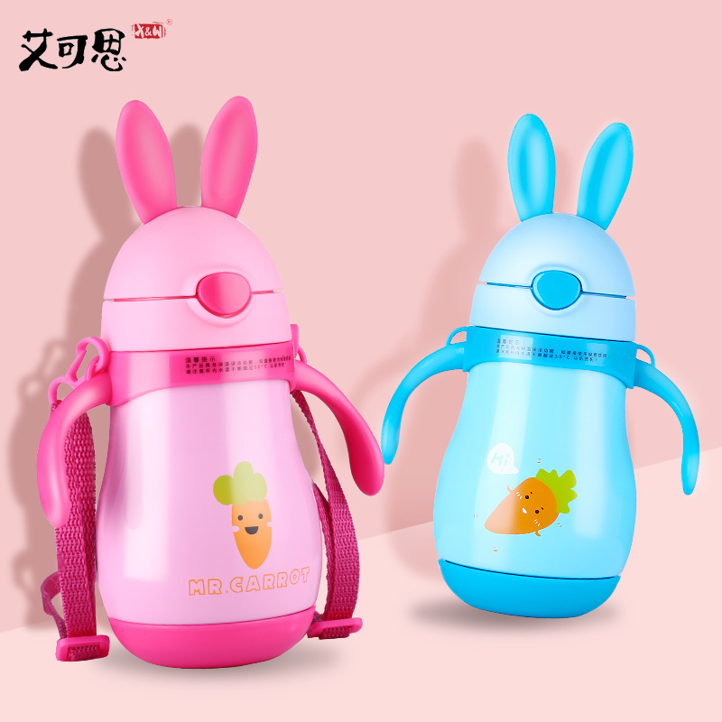 X&W 260ML Rabbit Stainless Steel Mug StrawThermos Child Hot Water Bottle With Handle Portable Leak Proof Pot Cute Vacuum Flasks