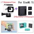 Xiaomi yi ação acessórios da câmera xiaomi yi habitação à prova d' água caso caixa + carregador de bateria + para xiaomi yi xiaoyi acessórios