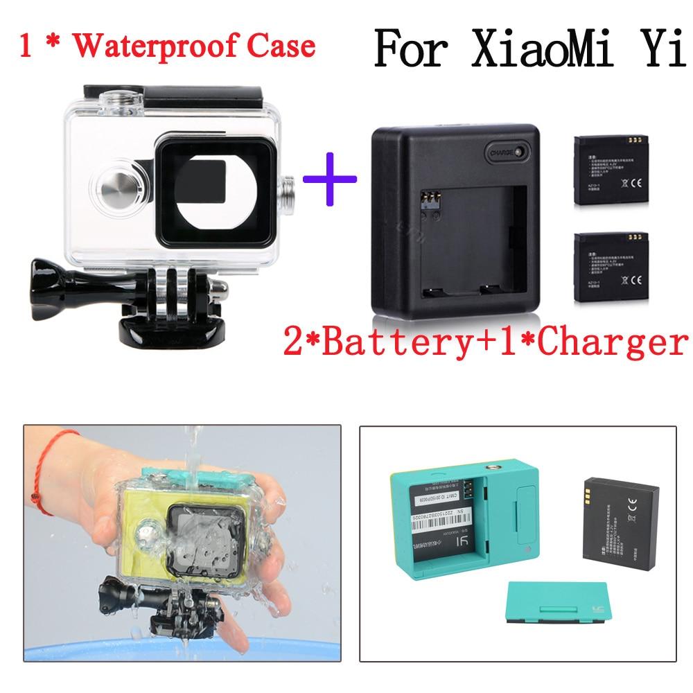 Xiaomi yi action camera accessories XiaoMI Yi Waterproof housing Case Box+Xiaoyi Charger+ Battery For Xiaomi yi accessories xiaomi yi 40 yi xiaoyi waterproof case