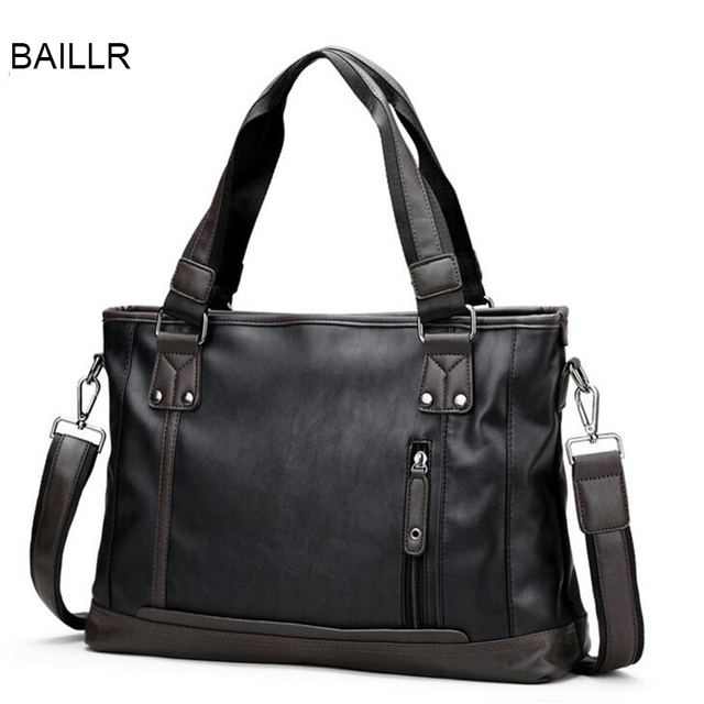BAILLR 2017 New Fashion Mens Handbags High Quality PU Leather Men s  Messenger Bag Brand 14 Inch Laptop Shoulder Bag P160 2e93df339e332