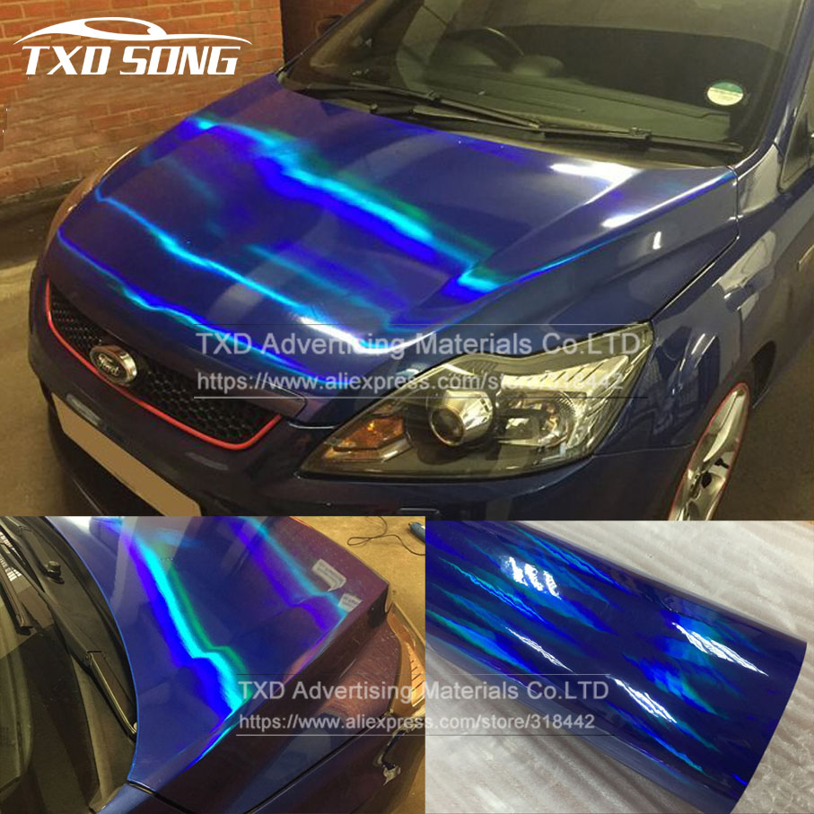 Detail feedback questions about 20x49cm lot blue chrome holographic vinyl film chrome rainbow laser car sticker chrome vinyl wrapping film with air free