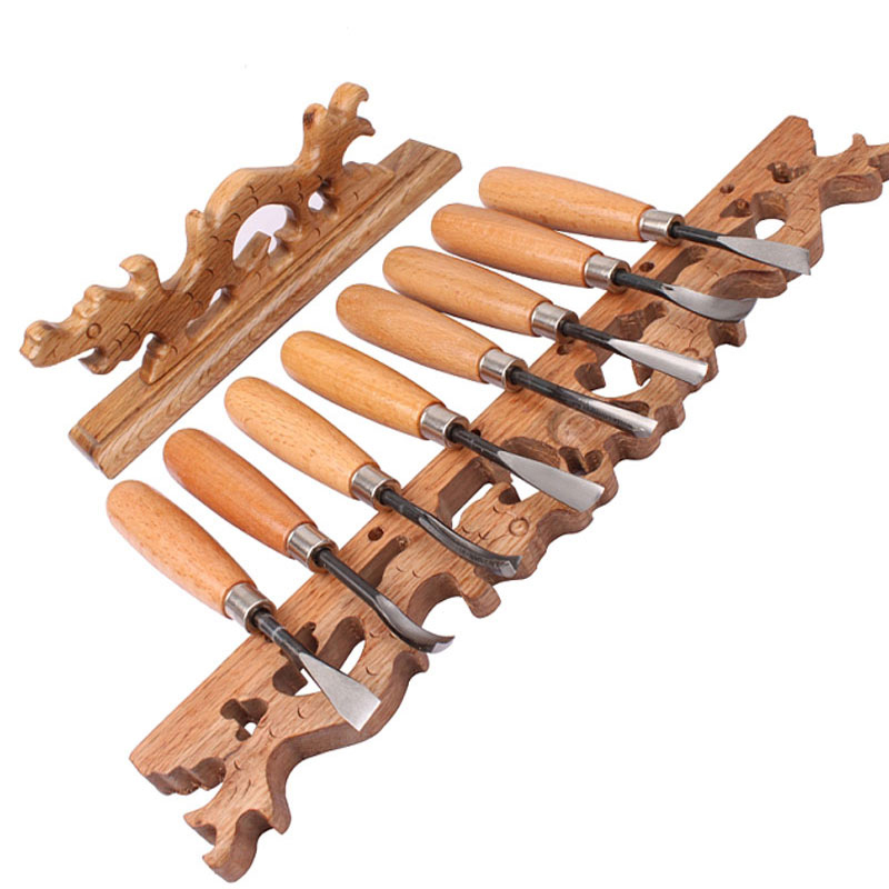 8 unids / set herramientas de talla de madera cinceles surtidos de alta calidad escultura Skew Gouge carpintería talla herramientas de grabado de cuchillo de utilidad