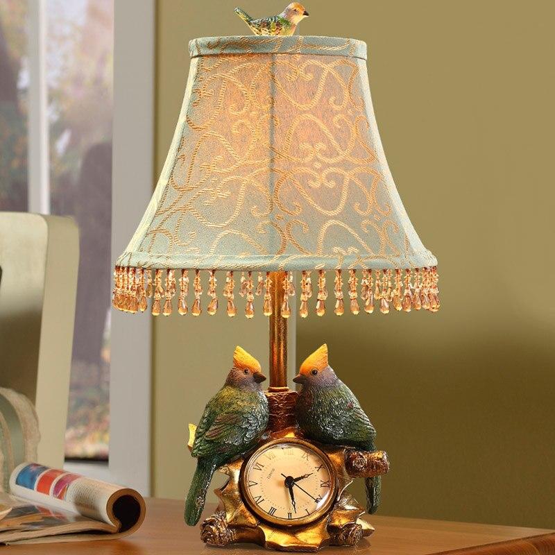 Европейский стиль смолы настольная лампа часы спальня ночники простой современный птица сад модные теплые спальне свет стол za99526