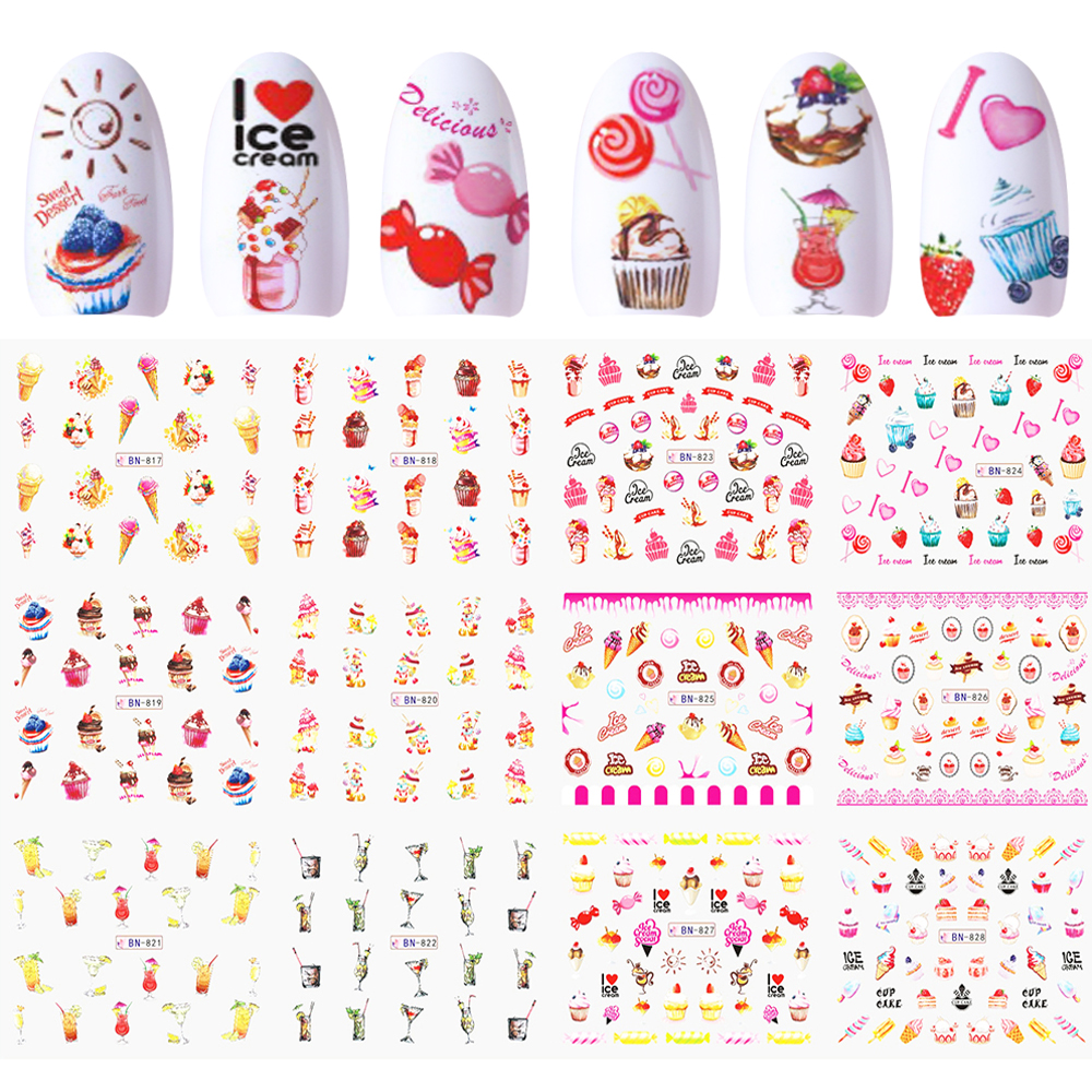 12 Designs Nail Sliders Art Water Stickers Decals Adhesive Colorful Ice cream Cake Candy Juice Wraps Manicure Decor JIBN817-828 art