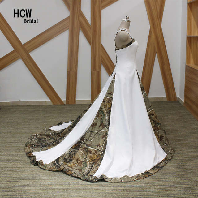 Online Shop Camouflage Wedding Dress Strapless Appliques Beaded Satin  Princess Wedding Dresses 2019 New Plus Size Camo Bridal Gowns Lace Up  df0a68c3d234