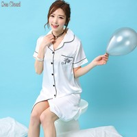 Free shipping summer women sexy nightgown S XXXL short sleeve girl plus size silk sleepwear loose pregnant woman