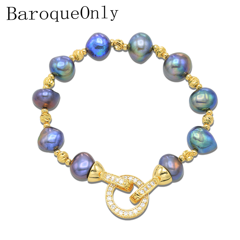 BaroqueOnly High Quality Natural Freshwater Pearl Bracelets ROUND CLASP mixed-colour irregular Pearl Jewelry customizable