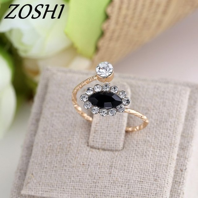 ZOSHI Drop Shipping Vintage Opeing Oval Crystal Rings Gold Color Charms Rings fo