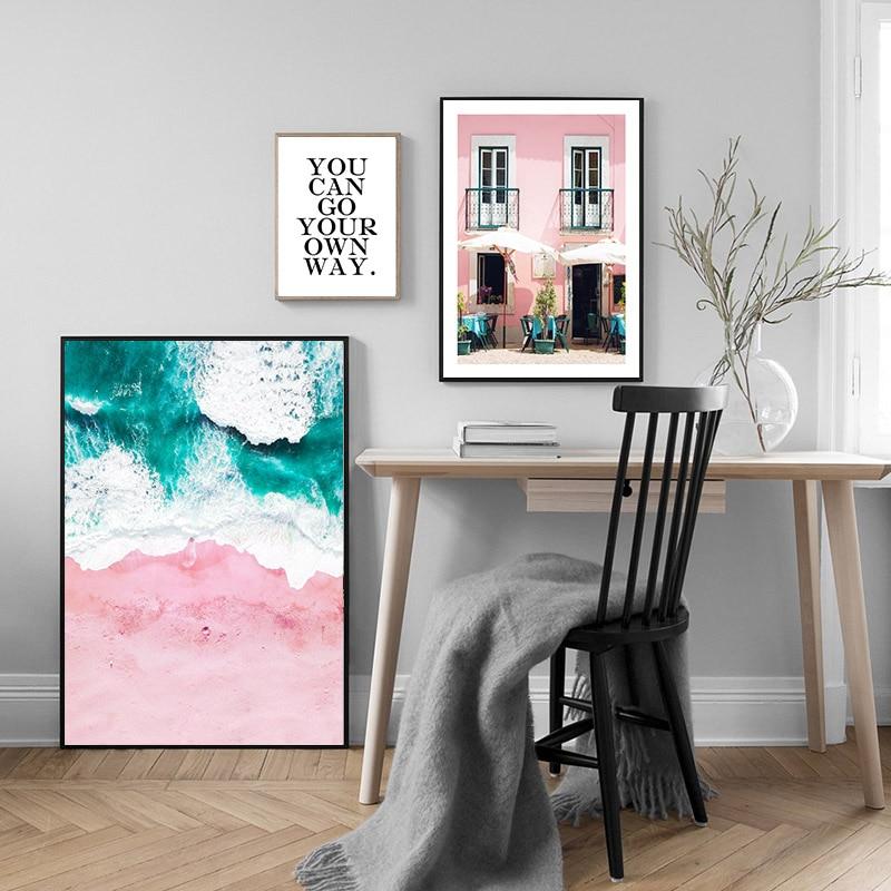 Landscape Canvas Poster Nordic Decoration Pink Beach Bus Wall Art Print Painting Decorative Picture Scandinavian Home Decor